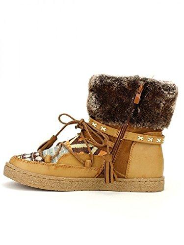 Cendriyon, Boots Noires Fourrées PAKOA Mode Chaussures Femme Caramel