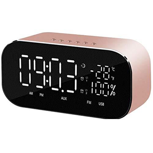 LOEROY Bluetooth Lautsprecher Radio Wecker, dimmbare LED-Anzeige, Doppelalarm mit Schlummerfunktion,Gold