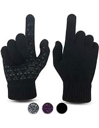 JORYEE Touchscreen Handschuh Damen - Frauen Handschuhe Winter Touchscreen Fäustlinge Damen Warme Sporthandschuhe Rutschfest Strick Handschuh Rutschfest für Frau Herren