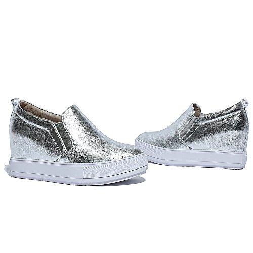 mode Chaussures mocassins plats de kakaka femmes espadrilles anti-vibration Noir Blanc silver