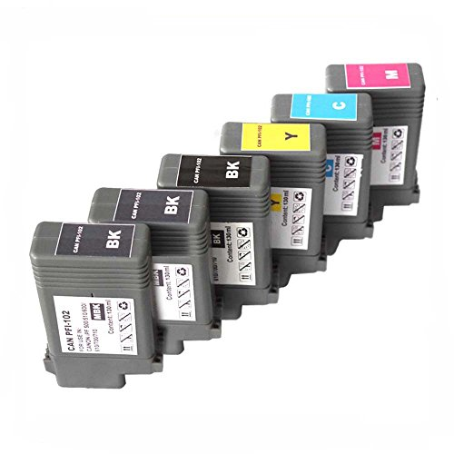 Oyat® 6x Kompatible Tintenpatrone CANON PFI-102 CMYKMKMK für Canon IPF 500 510 600 605 610 650 655 700 710