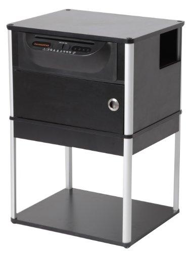 Bonsaii DocShred Base 7 - Tavolino per stampante con distruggidocumenti integrato, colore: Nero/Argento