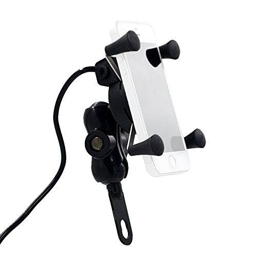 Foxpic Aluminio Soporte Móvil con USB Cargador Moto Motocicleta para iPhone Teléfonos Inteligentes Samsung Android y otros Dispositivos USB