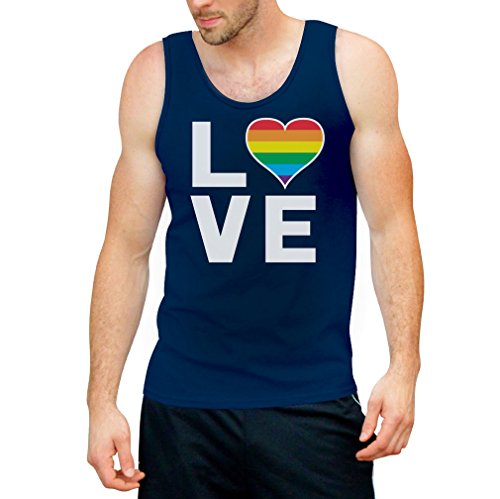 CSD Shirt/LGBT Tank Top Homosexuell Gay Pride Regenbogen Herz in Love Tank Top X-Large Blau