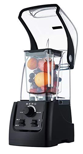 Hp-mixer (BERG 2200 W 3 HP Commercial Mixer mit Soundgehäuse, für Suppen, Smoothies, Nussbutter, Eis, Schwarz)