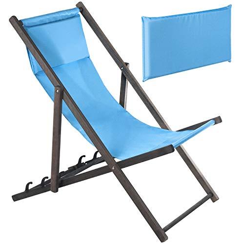 Green Blue GB184 Lettino Premium con Cuscino Morbido Sdraio da Giardino Lettino Prendisole Pieghevole (Blu)