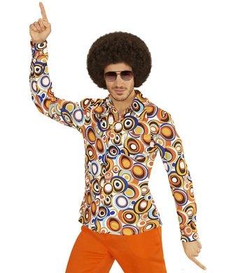 Hemd Siebziger 70er 80er Jahre Verkleidung Herren Schlager Disco Herrenhemd (S/M, bubbles bunt)