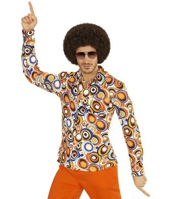 Hemd Siebziger 70er 80er Jahre Verkleidung Herren Schlager Disco Herrenhemd (S/M, bubbles (70er Herren Jahre Hemden)