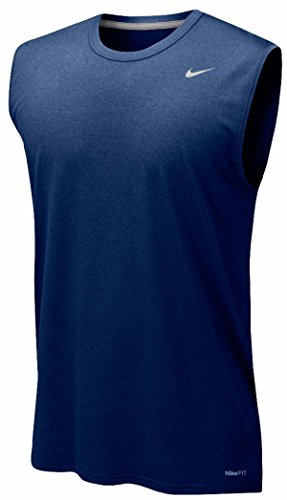 Nike Mens Legend Dri Fit Sleeveless T Shirt (Small, Navy) - Nike Womens Sleeveless Tee