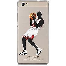 P8Lite TPU Funda Gel Transparente Carcasa Case Bumper de Impactos y Anti-Arañazos Espalda Cover, NBA Basketball, Jordan Colección Collection, Huawei P8 Lite