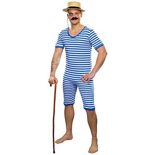 Amakando Costume da Bagno Maschile in Stile Anni ´20 / Blu-Bianco in Taglia XXL (IT 62/64) / Costume da Bagno a Strisce per Uomini / Un richiamo d´attenzione per Feste di Carnevale