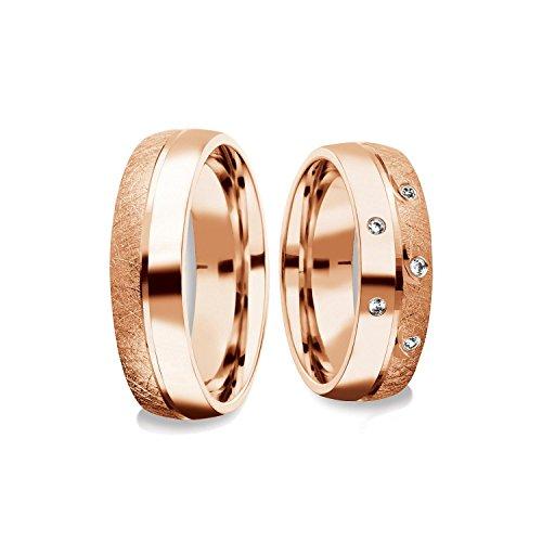 Eheringe Trauringe Rotgold Set AMOONIC mit Zirkonia Freundschaftsringe Paarpreis Verlobungsringe Partnerringe Silber vergoldet Ringpaar Hochzeitsringe Eheringe 6mm FF382VGRTZIFA-5870 (Rote Diamant-ring Weiss-gold)