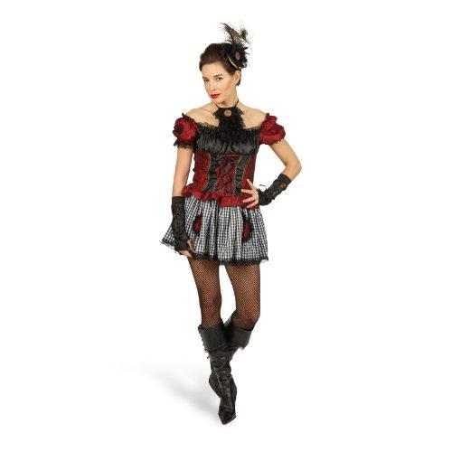 Cancan Kleid kurz Minikleid Kostüm Damen Minikleid Mode mit Mieder Rüschen - 44/46 (Shirt Victoria Rüsche)