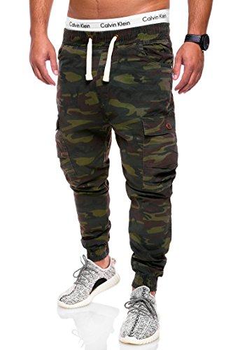 Behype Herren Camouflage Cargo Jeans-Hose Jogg 80-3188 Camouflage Khaki 34 (Herren-stretch-cargo-shorts)