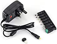 30W Universal AC/DC Adapter Switching Power Supply with 8 Selectable Adapter Plugs,for 3V 4.5V 5V 6V 7.5V 9V 1