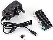 مصدر طاقة يونيفرسال 30 واط بتيار متردد/مستمر مع 8 مقابس تحويل، لـ 3، 4.5، 5، 6، 7.5، 9، 12 فولت، للاستخدامات ا