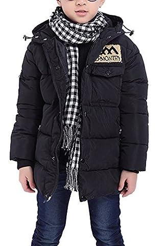 Ghope Enfant Garçon Veste d'hiver Neige Chaud Manteau Mi Longue à capuche Veste épaissie Jacket Parka Outdoor 5-12 ans ,bleu foncé 140cm