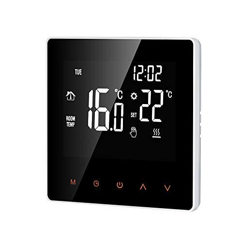 Decdeal Termostato Intelligente Wi-Fi - Regolatore Digitale della Temperatura,Controllo App, Display LCD Toccare Schermo, Cronotermostato Riscaldamento a Pavimento Elettrico Programmabile,16A