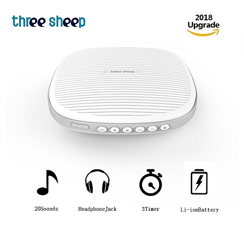 White Noise Machine, 20 Soothing Sleep Sound Machine with Headphone Jack, Sleep Timer, Sleep Sound Therapy System for Baby, Adult and Insomniac Sleep, Relax, Office and Travel (White) (Einstellbare Sleep-system)