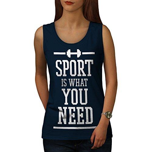 Brauchen Sport Trainieren Komisch Sie Fitnessstudio Passen Damen Schwarz S-2XL Muskelshirt | Wellcoda Marine