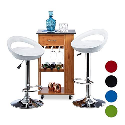 Relaxdays Barhocker 2er Set, höhenverstellbar, drehbar, bis 120 kg, mit Lehne, Barstuhl, HxBxT: 99 x 46 x 39 cm, weiß