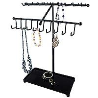 WYBFBYQ 30-Hook Necklace Bracelet Storage Organizer, Jewelry Tree Hanger Display Rack, Metal White