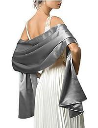 3d236d1d96cc Très Chic Mailanda Écharpe Châle Étole en Satin Femme Wrap Foulard Pashmina  pour Soirée Cérémonies Fêtes