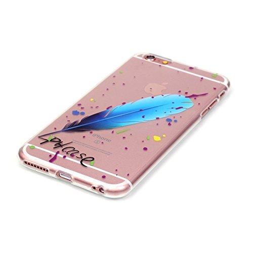 Pheant® Apple iPhone 6/6S (4.7 pouces) Coque Gel Étui Housse de Protection Transparent Cas en TPU Soulple Silicone(Coloré Plume) Plume Bleu