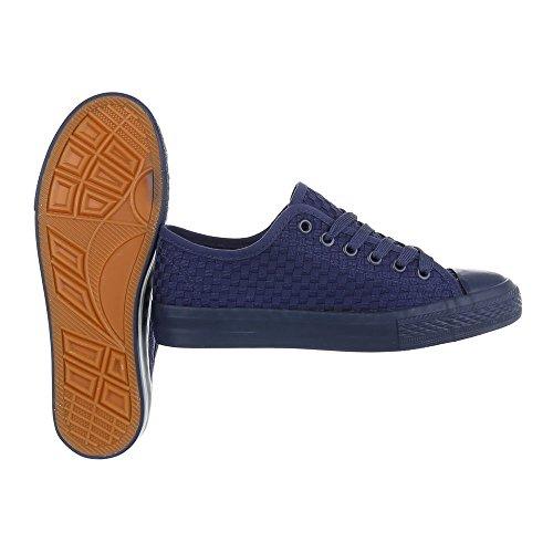 Sportschuhe Damenschuhe Geschlossen Sneakers Schnürsenkel Ital-Design Freizeitschuhe Dunkelblau 6705-Y