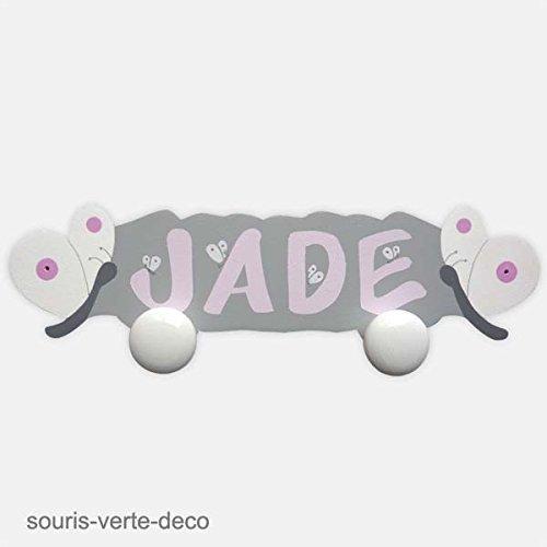 Porte-manteaux papillons prénom personnalisé, déco chambre fille et bébé, patere prénom, patere enfant bois, cadeau naissance personnalisé, patère prénom déco chambre bébé, gris et rose