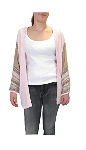 Strickjacke Poncho FledermausArme Cardigan Feinstrick Weste Retro rosa beige 38 40 42 44 M L XL (8087) (Strickjacke Away Fly)