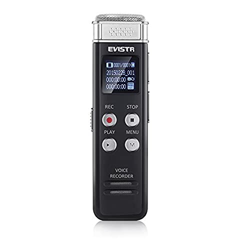 EVISTR Enregistreur vocal numérique compact de 8 Go Mini enregistreur audio portable avec lecteur de musique MP3 46 heures d'enregistrement PCM Enregistrement de fichier en temps réel