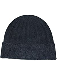 Prettystern - Unisex Stripe knitted Autumn Winter uni-colored Hat 100% Cashmere Beret Border Pleated - 8 colors