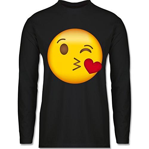 Shirtracer Comic Shirts - Emoji Kuss-Mund - Herren Langarmshirt Schwarz
