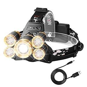 Laluztop Stirnlampe, Kopflampe LED Akku Stirnlampe LED Wasserdicht Wiederaufladbar 4 Modi inkl. USB Kabel, Ideal für Wandern/Camping/Spazieren/Joggen/Angeln/Klettern
