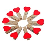 Mini Red Heart Love Wooden Clothes Photo...
