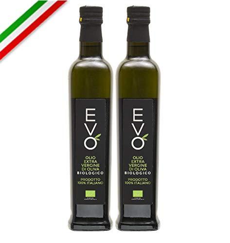 Olio extra vergine d'oliva BIOLOGICO 100% ITALIANO, AGRIFOOD, NUOVO RACCOLTO, confezione da due bottiglie