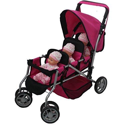Mommy & Me Puppe Collection Triplett Puppe Kinderwagen Rückseite an Rückseite mit drehbaren Rollen und Gratis Kutsche Bag–9668A