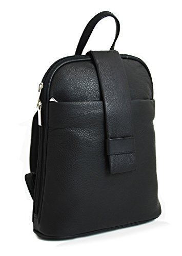 DEVRAKH Damen Echtleder Rucksack City Pack DayPack Handtasche echt Leder Nappa Citybackpack (Schwarz) (Leder Schwarze Handtasche Kalb)