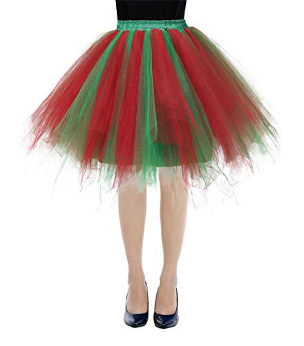 bbonlinedress Kurz Retro Petticoat Rock Ballett Blase 50er Tutu Unterrock Red-Green S