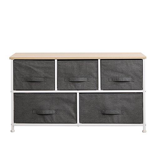 soges 5 tiroirs Table de Nuit Commode avec Meuble de Rangement,système de Classification Pratique pour la Chambre à Coucher,Gris,106-GY-N