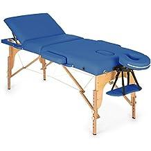 Klarfit MT 500 Camilla de masajes plegable 210cm 200 kg (Fácil transporte, altura cama regulable, respaldo inclinable 9 niveles, apoyacabezas y reposabrazos extraíbles, banco masaje profesional, revestimiento 10 cm espuma, incluye bolsa, mesa masaje portátil azul)