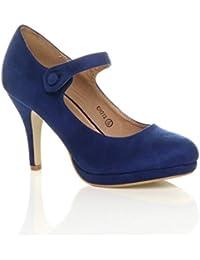 Ajvani Womens Ladies mid high Heel Mary Jane Evening Work Platform Court Shoes Size