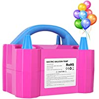 MVPOWER Electric Balloon Air Pump High Power Dual Nozzle Inflator Blower Portable Pump with UK Plug for Birthday, Wedding or Party (Pink(600w))