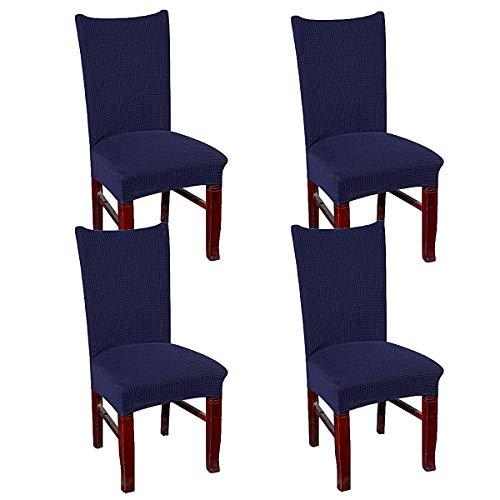 simpletome Stuhlhusse Stretch Stretchhusse Stuhl Entfernbar Waschbar Mehrfarbig 4 Packungen (Blau) - 4 Parson Stühle