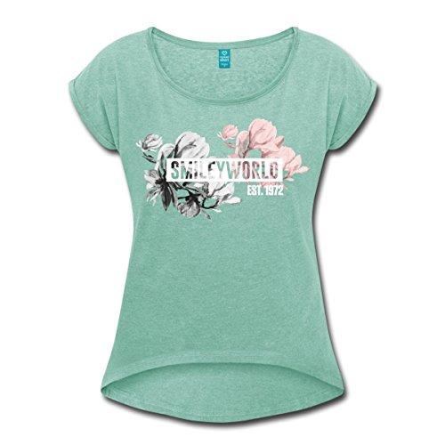 Pastell-magnolia (Spreadshirt Smiley World Magnolien Frühlingsblumen Frauen T-Shirt mit gerollten Ärmeln, S, Minze meliert)