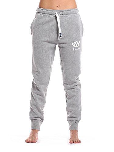 WOLDO Athletic Damen Jogginghose Jogger Trainingshose Sweatpants Sporthose Freizeithose Gym Fitness Hose Slim Fit schmal eng (M, Clark / grau/weiß)