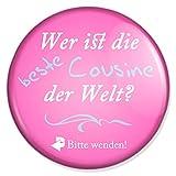Spruch Wer ist die beste Cousine der Welt Schminkspiegel, Taschenspiegel Schminkspiegel Reisespiegel Handspiegelmit 59 mm Durchmesser