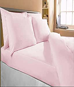 """Bombay Dyeing Plain Cotton Double Bedsheet With 2 Pillow Covers - 100 x 90"""", Pink"""