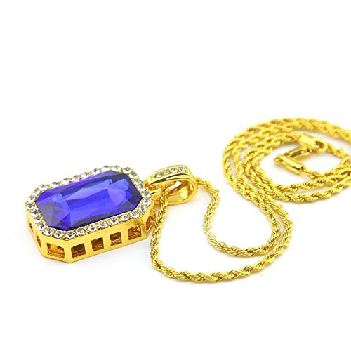 277a7db4c6b12 LSDMY 14k Gold Plated 3mm 24inch Hip-Hop Rope Chain Necklace with Octagon  Iced Out Pendant (Blue Ruby)